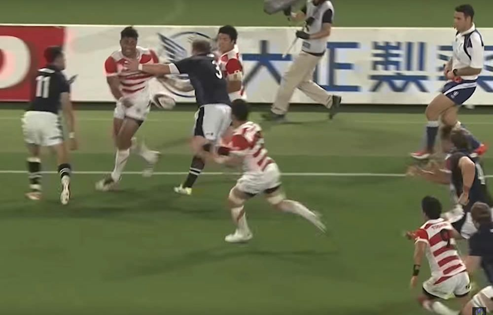 Super try from Japan against Scotland