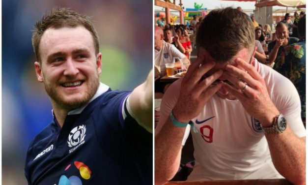 Scotland rugby star Stuart Hogg forced to wear ENGLAND jersey to watch World Cup semi-final after losing bet to Mike Tindall