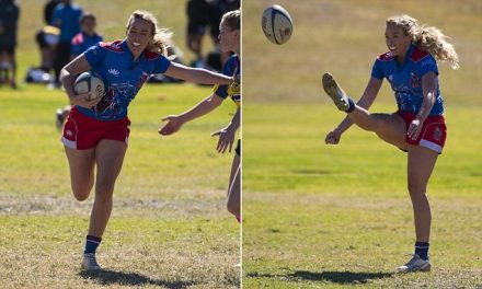 The Bachelor's Cassandra Wood knocks down other girls during a rugby union match