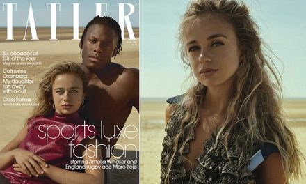 Lady Amelia Windsor reclines on topless England rugby ace Maro Itoje for Tatler magazine