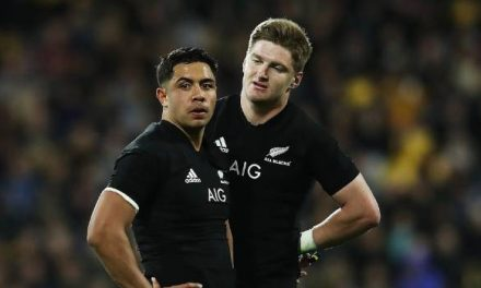 Anton Lienert-Brown puts down his drink but misses a handshake from the All Blacks skipper