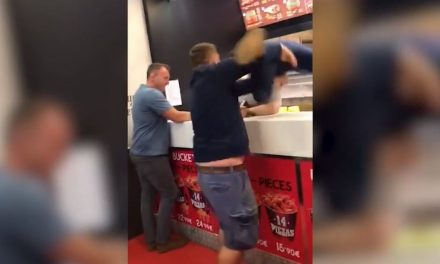 Video emerges of one former Wales rugby player launching another over the counter of a fried chicken shop