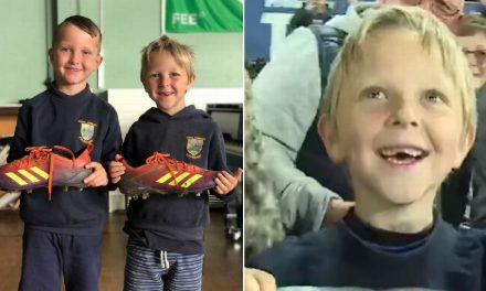 The two little boys holding giant boots who'll never forget what a Wales rugby hero did for them – Wales Online