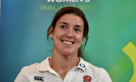 England rugby captain Sarah Hunter accidentally bares all as her shorts get pulled down in World Cup win