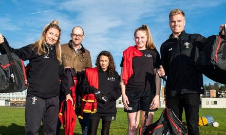 Wales rugby star hand-delivers kit donation to local charity