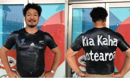 All Blacks v England: Body painted Japan rugby fan backs the All Blacks | Stuff.co.nz