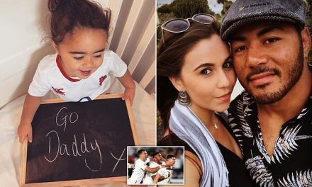 England rugby hero Manu Tuilagi's 18-month-old daughter posts cute message on Instagram   Daily Mail Online