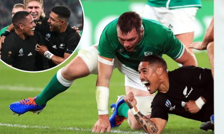 New Zealand 46-14 Ireland: Seven-try All Blacks hammer Irish to set up mouthwatering England semi-final