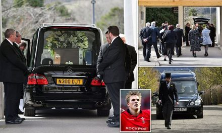Former Wales rugby star Matthew J Watkins is laid to rest | Daily Mail Online