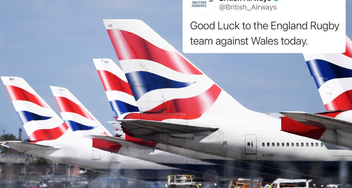 British Airways apologise after tweeting support for England rugby team ahead of Wales showdown